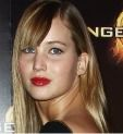 Jennifer Lawrence with red lips at the Hunger Games premiere