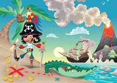 """PIRATE AND PARROT """"PIRATES """" Wall Mural photo Wallpaper for kids room Nursery 