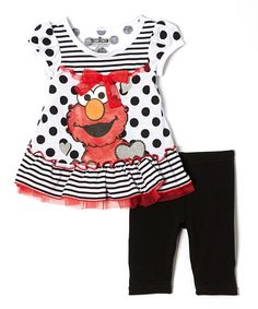Sesame Street Black Polka Dot   Ruffle Elmo Tunic   Leggings - Infant    Toddler by Sesame Street db90bb80c