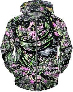 Popular Psychedelic Dead Space Man Fantasy Chalk Art Custom Grunge Style Zip Hoodie by Willy Badu.
