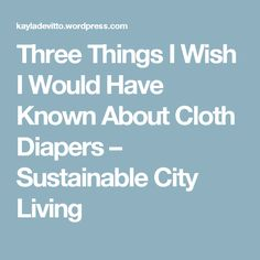 Three Things I Wish I Would Have Known About Cloth Diapers – Sustainable City Living