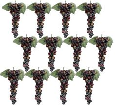 12 Clusters (With 1008 Grapes) 11' Artificial Grapes with Leaves Burgundy 2 Tone -- You can find more details by visiting the image link.