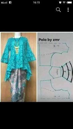 High low hem tunic pattern kinda blue and white Kebaya Lace, Kebaya Hijab, Kebaya Brokat, Kebaya Dress, Dress Sewing Patterns, Blouse Patterns, Clothing Patterns, Pattern Sewing, Blouse Designs