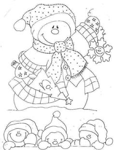 snowman for pattern Christmas Colors, Christmas Art, Christmas Projects, Handmade Christmas, Colouring Pages, Coloring Books, Embroidery Patterns, Hand Embroidery, Snowman
