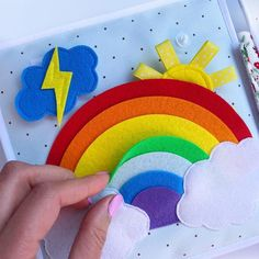 "Quiet book page ""Rainbow"" The real color of the item may be slightly different from the pictures shown on website caused by many factors such as brightness of your monitor and light brightness. Montessori Books, Quiet Book Patterns, Felt Quiet Books, Developmental Toys, Busy Book, Felt Art, Baby Crafts, Book Activities, Educational Toys"