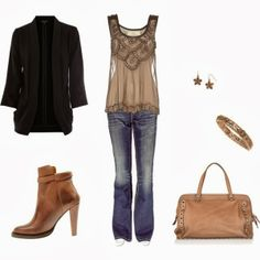 Black cardigan thin blouse denim pants hand bag and long boots