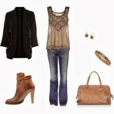 Black cardigan thin blouse denim pants hand bag and long boots