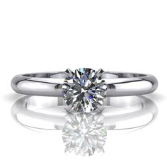 Engagement Diamond Ring 1 Carat Solitaire F VS Enhanced Round in 14K White Gold