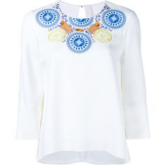 Peter Pilotto Embroidered Neck Blouse ($750) ❤ liked on Polyvore featuring tops, blouses, embroidered blouse, blue print top, pattern blouse, peter pilotto and peter pilotto tops