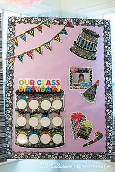 BW Collection Happy Birthday Bulletin Board Set by CTP: Create a stylish display to celebrate class birthdays and highlight student birthdays for each month!