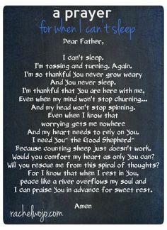 A prayer when you cant fall asleep