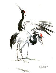 Japanese Crane Original watercolor painting, 14 X 11 in, black white Asian Art, brush Painting, Zen painting
