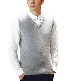 Nidicus Men Casual Cotton Soft Knitwear Solid V-neck Classic Sweater Vest Flowergray S Review