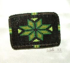 "Belt Buckle Native American Beadwork Black Geometric 3.5x2.5"" A well made loom woven design securely sewn over a sturdy metal buckle. Leather back. Native American Made. $75.00 w FREE shipping in USA. #beltbuckle #beadwork #nativeamerican"