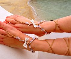 Barefoot sandals. beach sandal beaded sandals  sea by SoftCrystal, $29.00