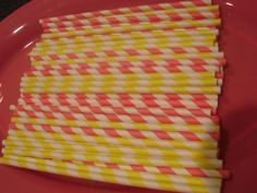 Pink Lemonade Paper Straws and Printable Flags...Pink and Yellow...Party Straws..Party Supplies. $4.00, via Etsy.