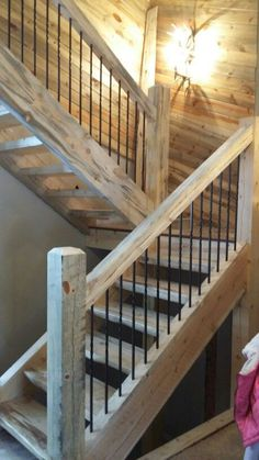 metal barn homes Iron pickets installed. Metal Barn Homes, Metal Building Homes, Pole Barn Homes, Rustic Staircase, Staircase Railings, Stairways, Banisters, Building Stairs, Building A House