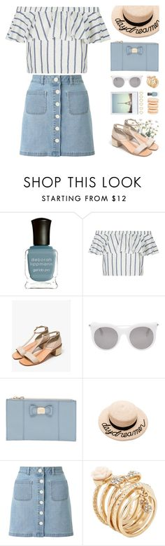 """linen bardot top"" by jesuisunlapin ❤ liked on Polyvore featuring Deborah Lippmann, Topshop, Rachel Comey, Oui, Alexander McQueen, See by Chloé, Eugenia Kim, Miss Selfridge, Mikimoto and ALDO"