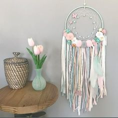 Magical dreamcatcher painted and handmade with t-shirt yarn and fabric flowers. Dream Catcher Mobile, Large Dream Catcher, Dream Catcher Boho, Dream Catchers, Indian Arts And Crafts, Diy And Crafts, Deco Kids, Pom Pom Crafts, Boho Wall Hanging