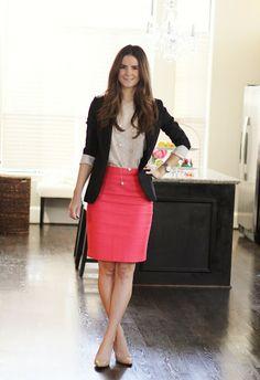 Veronika's Blushing - Blouse- Express  Necklace- Regina Pierallini Skirt- J.Crew No. 2 pencil skirt Blazer- Aritzia  Shoes- Nine West Martina