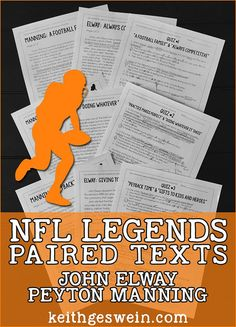 All three pairs of texts include a quiz. Passages and questions are written in a way to help students learn valuable lessons from the lives of Elway and Manning. Passages are ideal for students reading between grade levels five and eight.
