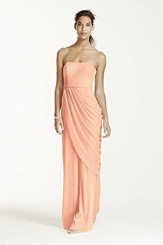 Long Strapless Mesh Bridesmaid Dress with Side Draping Style W10482, Bellini, 8 David's Bridal http://www.amazon.com/dp/B00QKJZH6C/ref=cm_sw_r_pi_dp_ldLZwb0YMZKCW