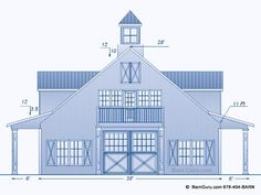 Horse Barn Plans With Living Quarters -5 Stalls - 3 Bedrooms Design