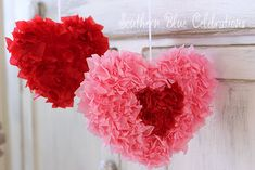 Southern Blue Celebrations: Easy to make tissue paper hearts.