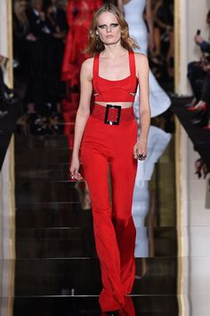 MODernic RedHigh Waisted Red Pants and Short Top by  Atelier Versace Spring 2015 Couture Runway Photos