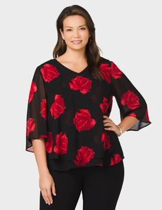 dressbarn roz&ALI Plus Size Chiffon Rose-Print Blouse Blouse Originale, Chiffon, Trending Now, Rose, Bell Sleeves, Tunic Tops, Plus Size, Trending Outfits, Clothes