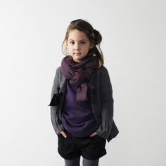 Little girl fall outfit Scarf & Cardigan, layered look Serena Cardigan-Heather Gray by Nellystella