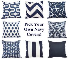 Navy Pillow Covers  Two Navy and White Throw by CastawayCoveDecor, $32.00