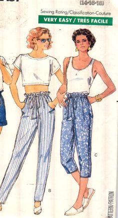 Butterick 6468, Sz 14-18.  FAST & EASY Paper Bag Waist Drawstring Shorts/Pants/Capri Pants with side pockets, Rare UNCUT Vintage Pattern