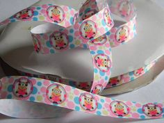 """Minions Girls Grosgrain Ribbon 5 yards of 7/8"""" Girl Minions Polka Dot Print White Ribbon with Pastel Dots For Hair Bows Birthday Party Favor by HouseofHairDecor on Etsy"""