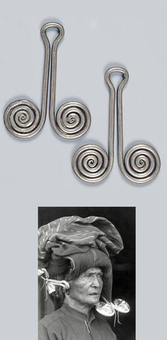 Indonesia - Sumatra | Pair of woman's ear ornaments from the Karo / Batak people; silver.  H: 10 cm,  178 grs.  (Image taken ca 1915 of an old Batak woman wearing these traditional ornaments) | Est. 800 - 1'100€ ~ (Dec '14)
