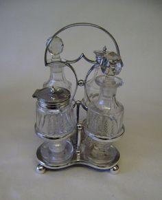 Antique Silver Plate Victorian Set Condiment Bottles Cut Glass England Sheffield