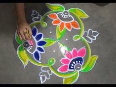 Rangoli Design with colours for fesitvals and competitions with dots 11x6 | Easy Rangoli - YouTube