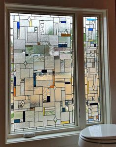 Stained Glass Window - Privacy in Clear - Stained glass cabinet insert - Brille Stained Glass Door, Stained Glass Designs, Stained Glass Panels, Stained Glass Patterns, Window Privacy, Window Panels, Glass Wall Art, Window Glass, Window Art