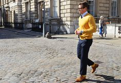 GQ street style: london... the pants are a little short for me bt the color combo is fantastic
