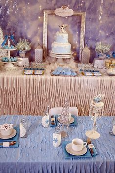 Decorated table at a Frozen Birthday Party! See more party ideas at CatchMyParty.com!