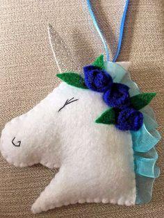 New Handmade Shabby Chic Felt Unicorn Christmas Tree Decoration - Blue