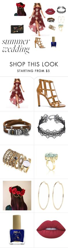 """""""Summer Wedding 2"""" by ma94600 ❤ liked on Polyvore featuring WithChic, Jimmy Choo, BillyTheTree, Design Lab, River Island, ncLA, Lime Crime and Topshop"""