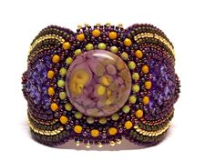 Bead Embroidery Bracelet   OOAK  Statement Beadwork   Seed bead bracelet  Swarovski  margaritas  Glass cabochon Purple Green Gold