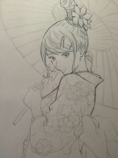 ✮ ANIME ART ✮ anime girl. . .yukata. . .obi. . .hair. . .updo. . .flower. . .parasol. . .drawing. . .pencil. . .graphite. . .cute. . .kawaii