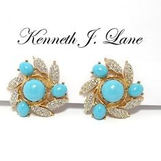 Stunning Kenneth J. Vintage Costume Jewelry, Vintage Costumes, Kenneth Jay Lane, Rhinestone Earrings, Brooch, Turquoise, Trending Outfits, Unique Jewelry, Handmade Gifts