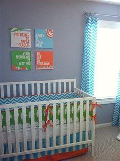 Dr Seuss Nursery Crib Set, Orange Aqua Lime