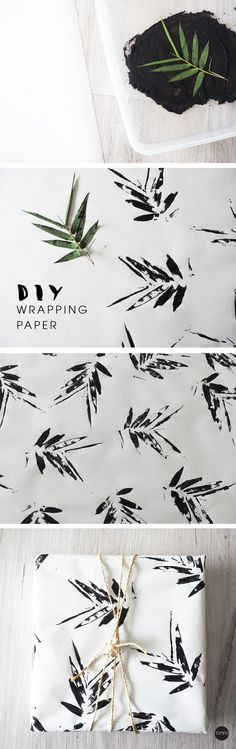 Trendy DIY leaf-stamped wrapping paper makes a gift even more special! More ideas and inspiration: http://www.hallmarkchannel.com/june-weddings