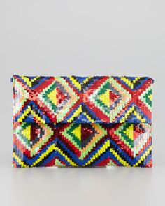 Moyna Sequined Flap Top Clutch Bag