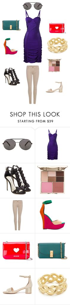 """""""Fashion world"""" by emmamegan-5678 ❤ liked on Polyvore featuring Seafolly, Balmain, Olgana, Stila, 7 For All Mankind, Love Moschino, Marc Jacobs, Soave Oro and vintage"""