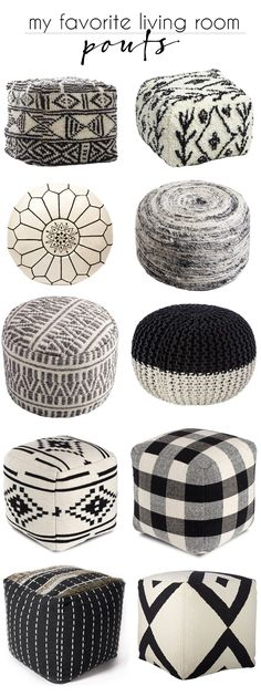 black and white living room pouf Indian Living Rooms, Eclectic Living Room, Living Room White, Boho Living Room, Small Living, Ottoman In Living Room, Living Room Seating, Diy Pouf, White Ottoman